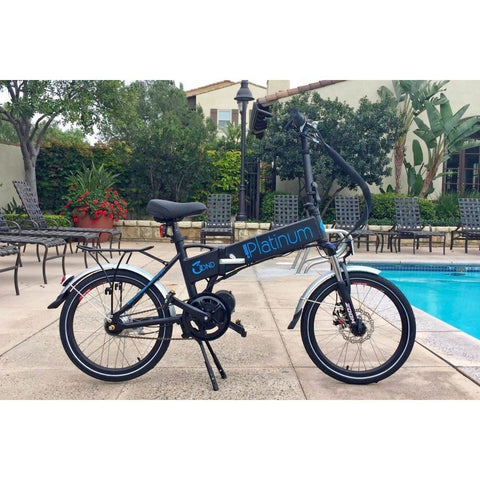 Black Platinum E-BIKES 3OND - Folding Electric Bike - By Pool