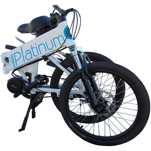 White Platinum E-BIKES 3OND - Folding Electric Bike  Folded Up