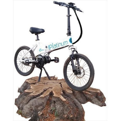 White Platinum e-BIKES 3OND - Folding Electric Bike - On rock stand