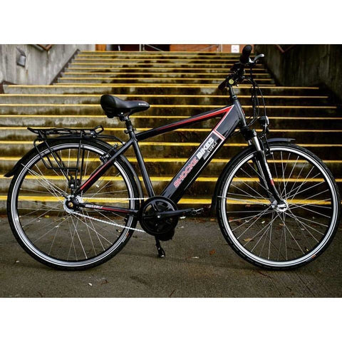 Black Shocke Bikes Surge - Urban Electric Bike Commuter - In Front of Steps