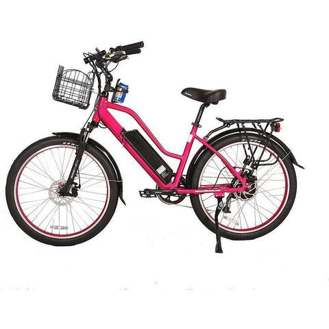 Pink X-Treme Catalina 48V Electric Cruiser Bike - Side View
