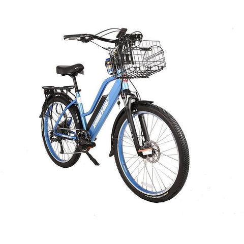 Blue X-Treme Catalina 48V Electric Cruiser Bike - Front View
