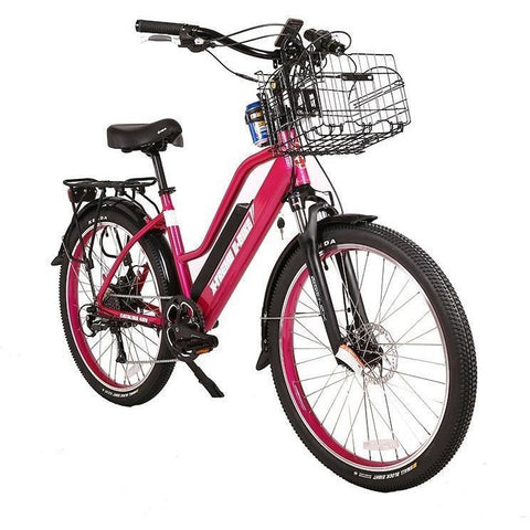Pink X-Treme Catalina 48V Electric Cruiser Bike - Front View