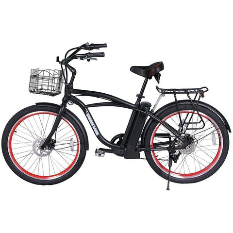 Black X-Treme Newport Electric Cruiser Bike - Side View