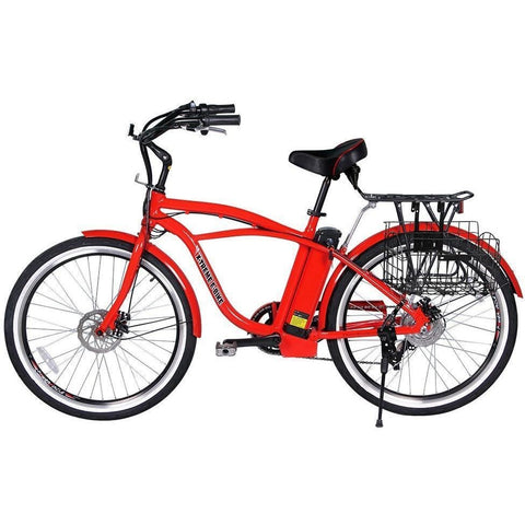 Red X-Treme Newport Electric Cruiser Bike - Side View