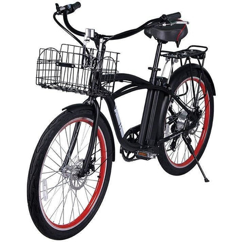 Black X-Treme Newport Electric Cruiser Bike - Front View