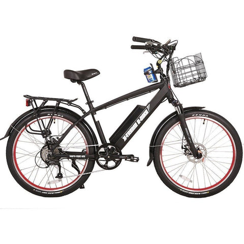 Black X-Treme Santa Cruz 48 Volt Electric Beach Cruiser Bike - Side View