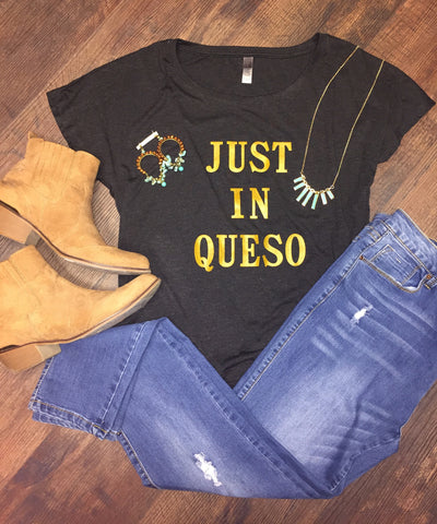 Just In Queso Tee-Charcoal