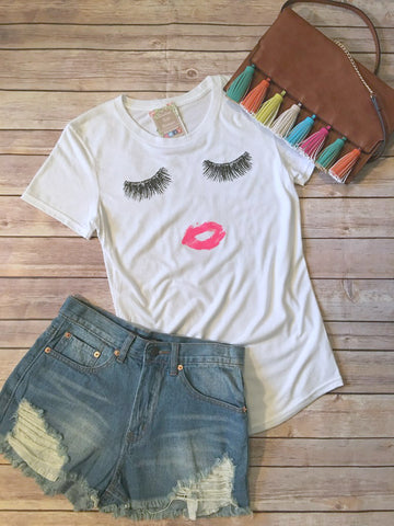 Ultimate Glam Tee--White/Hot Pink