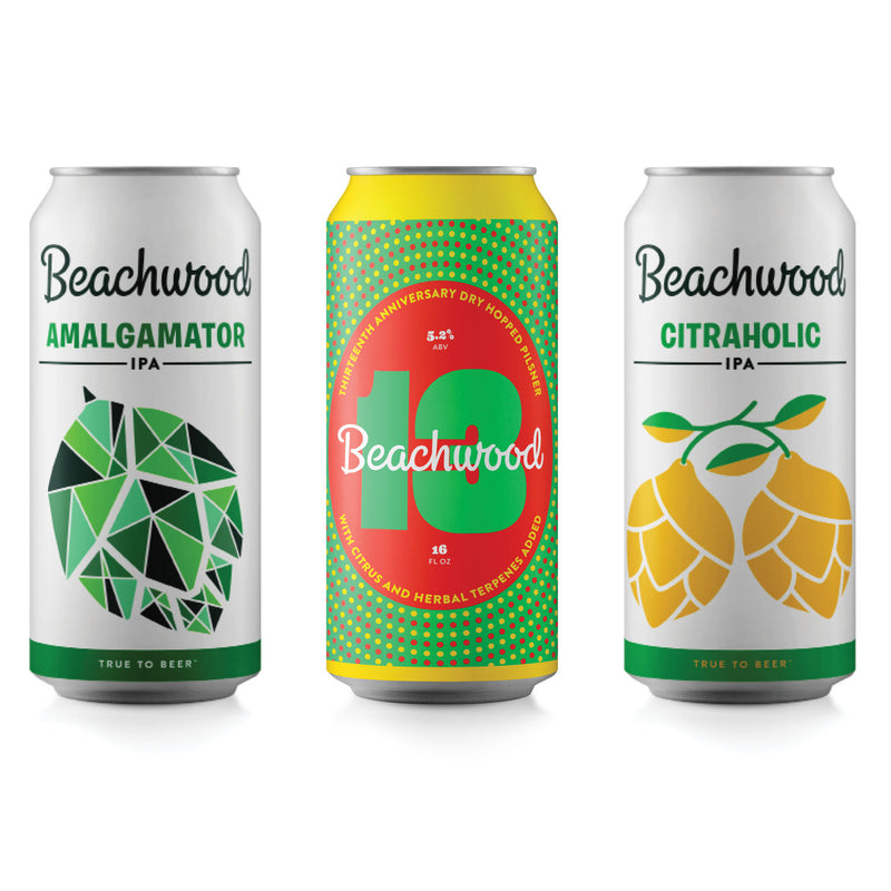 BEACHWOOD 13 DRY HOPPED PILSNER + WC IPA Variety Case  - 6 x 4pk 16oz cans