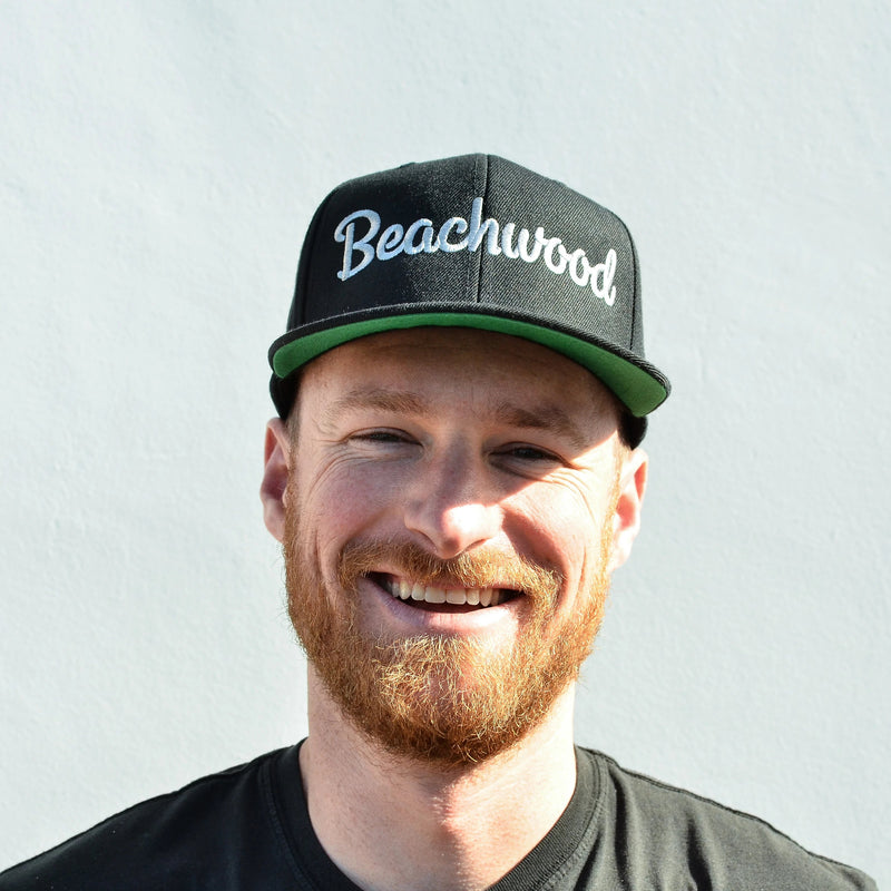 Beachwood Brewing Silver Logo Snapback in Black