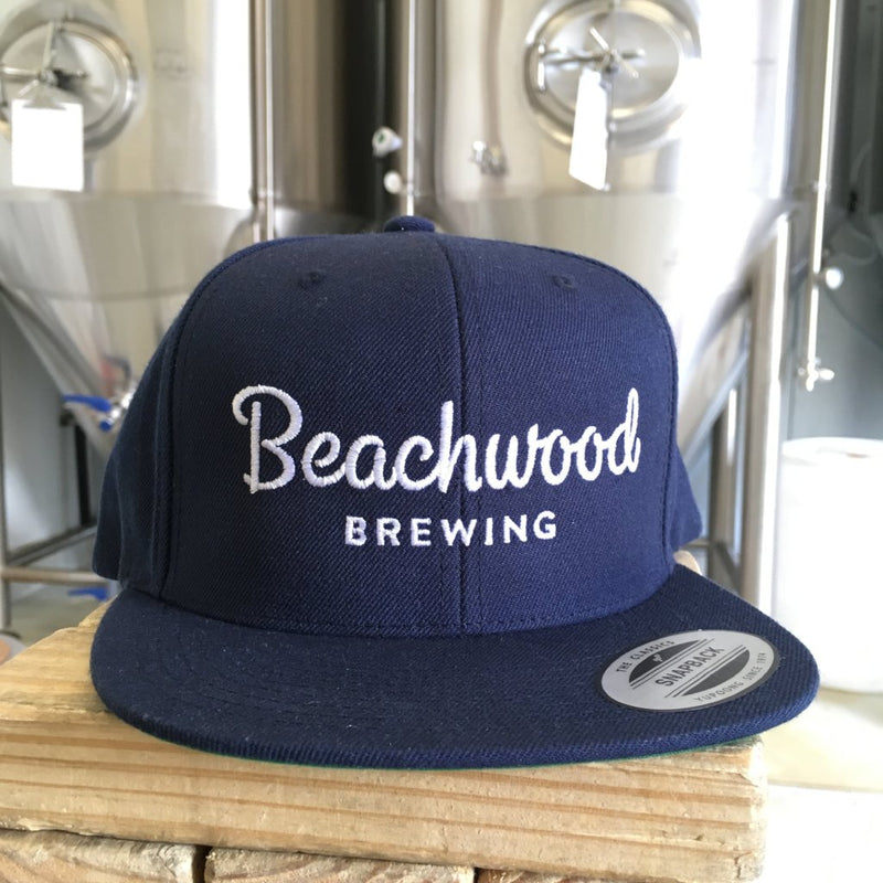 Beachwood Brewing White Logo Snapback Hat in Navy Blue
