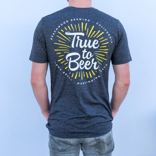 Gray True To Beer T shirt with white and yellow design on the back