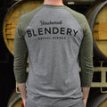Beachwood Blendery Tri-Blend Jersey Raglan T-Shirt in Green and Heather Grey for a vintage look.
