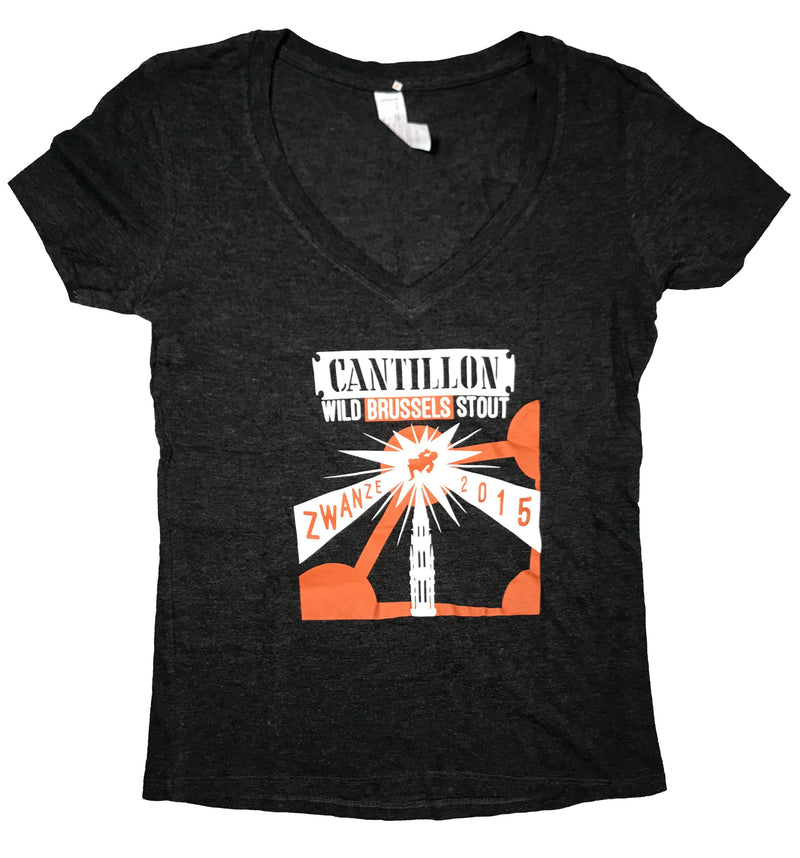 Zwanze Day 2015 Ladies Gray V-Neck T-shirt - front