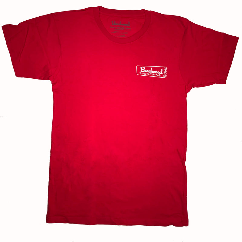 Beachwood Brewing logo t-shirt in red -front