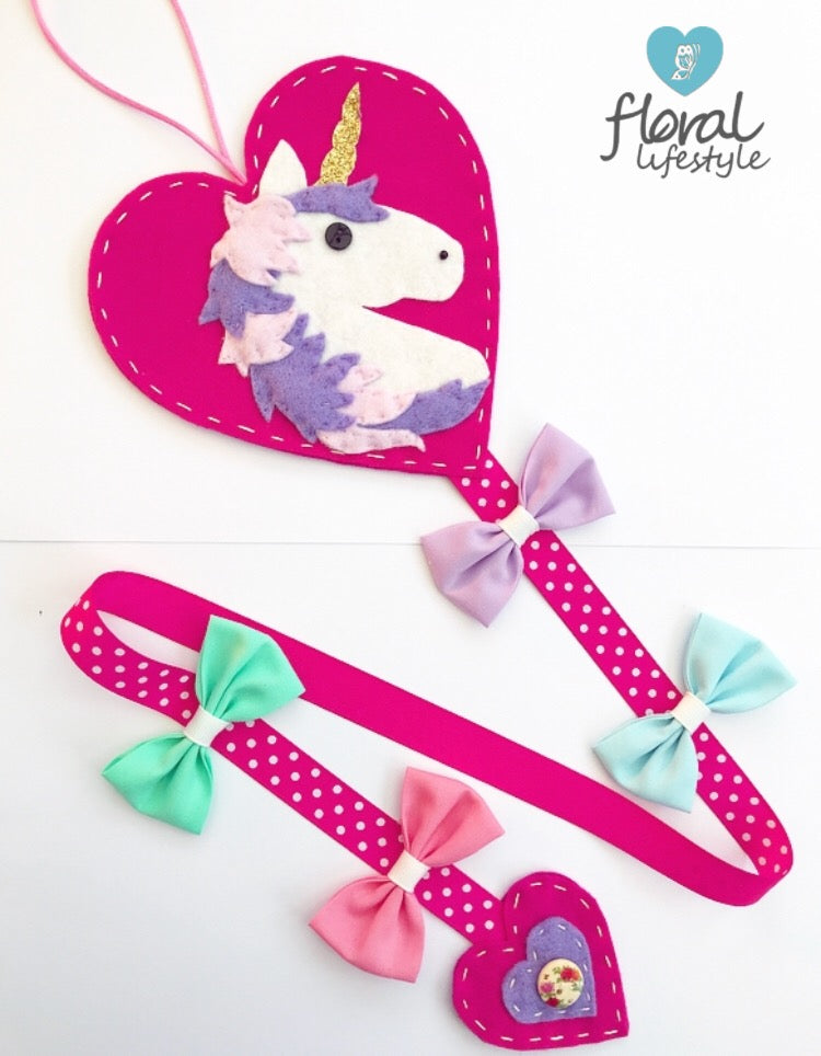 Deluxe unicorn hair bow holder - Pastel on hot pink