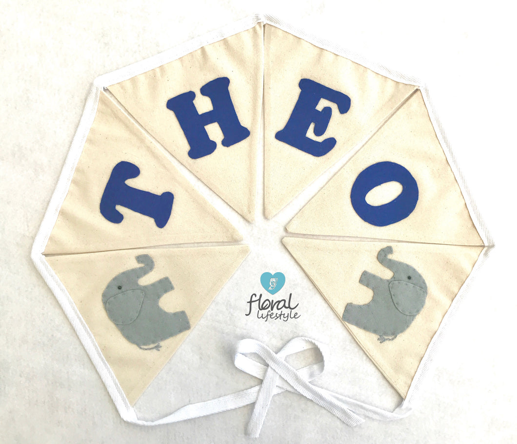 Elephant theme - Personalised name bunting
