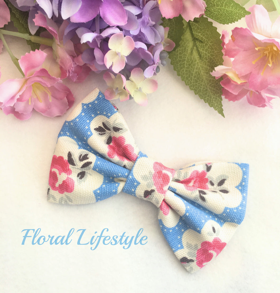 Cath Kidston Fabric Bow - Electric Blue Provence Rose