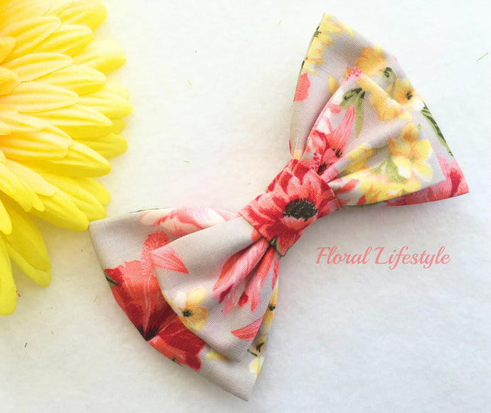 Large Hair Bow - Coral Crown
