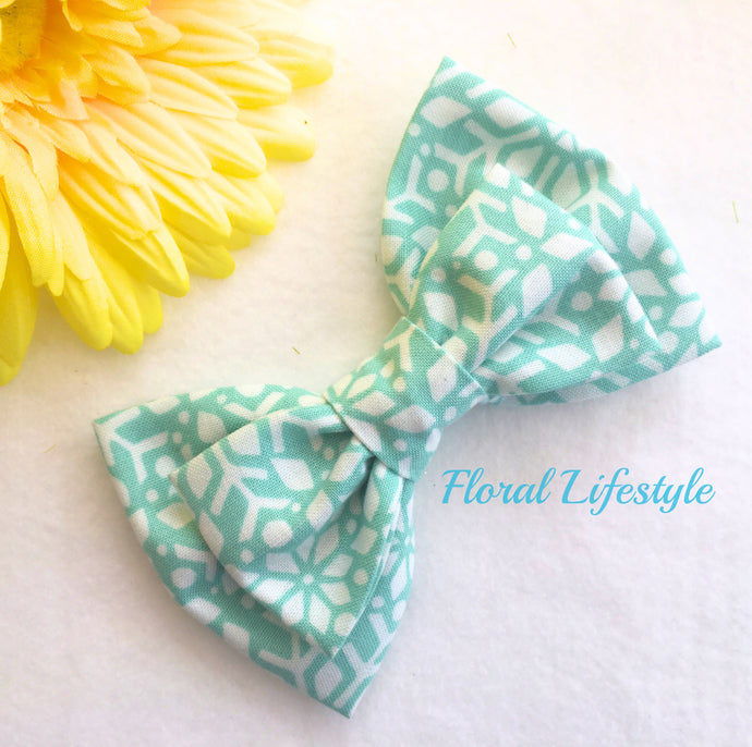 Large Hair Bow - Mint Maze