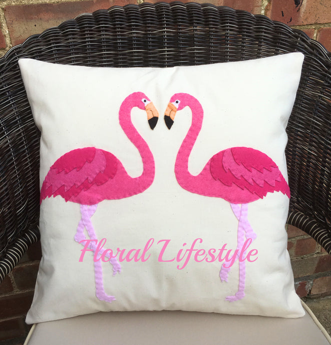 Flamingo Hand Appliquéd Cushion