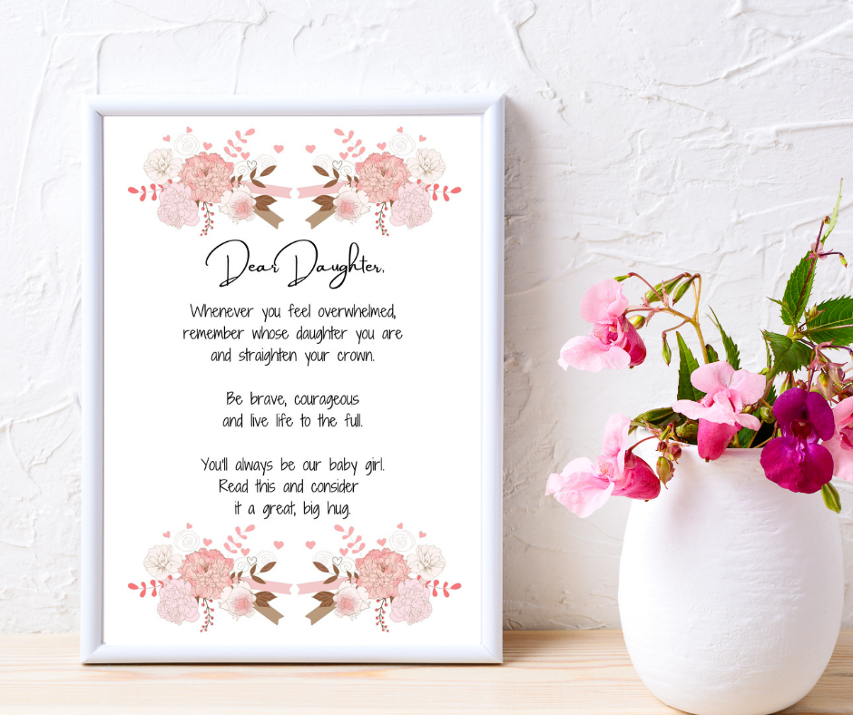 Dear Daughter Print - Alternative words and design