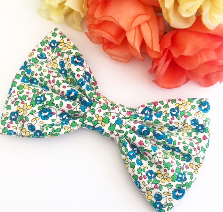 Liberty Luxe Hair Bow - Helena's Meadow Blue - Stretch Denim