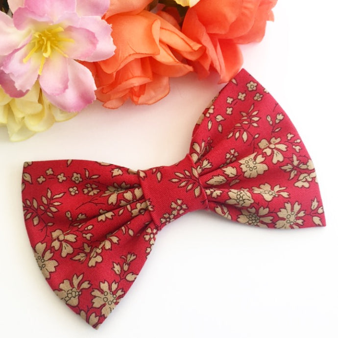 Liberty Luxe Hair Bow - Capel Red