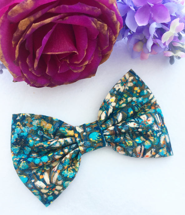 Liberty Luxe Hair Bow - Eleonora - Teal and Turquoise