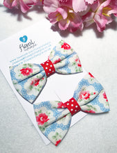 Small Cath Kidston Fabric Bows - Matching Pair - Blue Provence Rose Mini