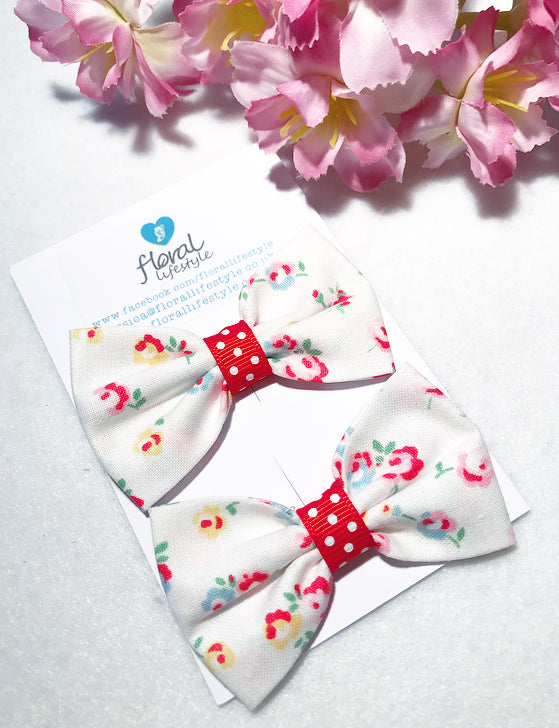 Small Cath Kidston Fabric Bows - Matching Pair - Little Rose