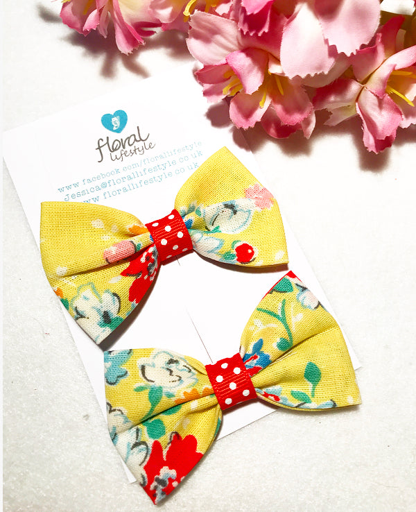 Small Cath Kidston Fabric Bows - Matching Pair - Yellow Clifton Rose