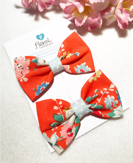 Small Cath Kidston Fabric Bows - Matching Pair - Coral Clifton Rose