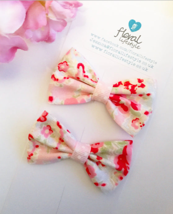 Small Cath Kidston Fabric Bows - Matching Pair - Rose Paisley