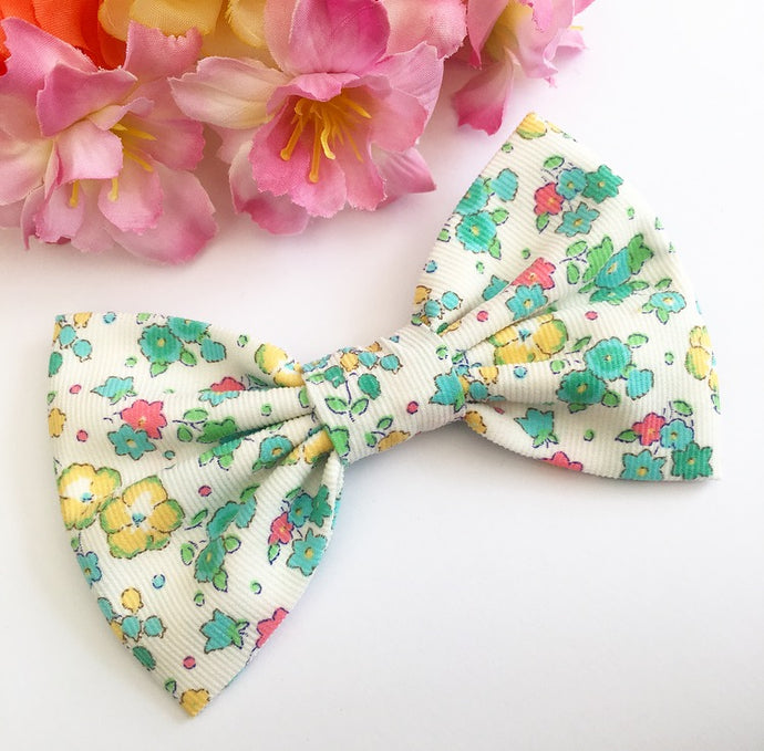 Liberty Luxe Hair Bow - Ella and Libby - Green, Yellow and Pink