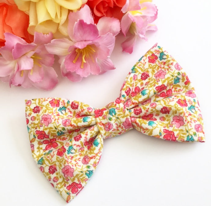 Liberty Luxe Hair Bow - Helena's Meadow - Pink and Green