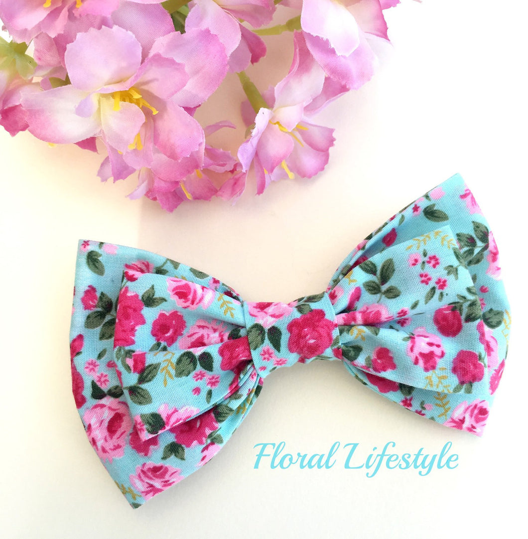 Large Hair Bow - Blue CK