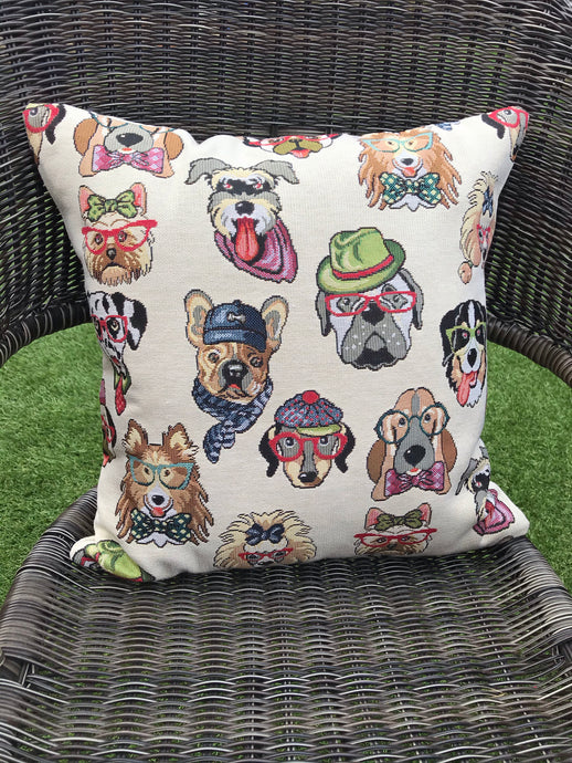 Dog Tapestry Style Cushion