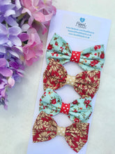 Small Hair Bows set - Vintage style matching pair