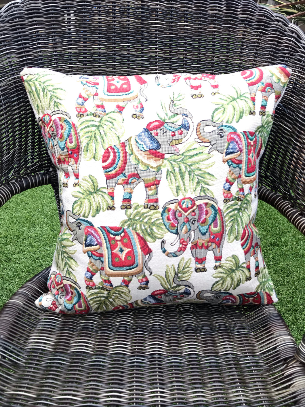 Elephant Tapestry Style Cushion