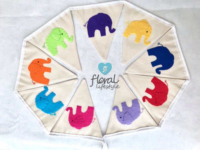 Elephant Bunting - Bright Colours