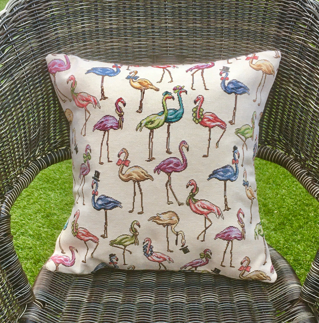 Flamingo Tapestry Style Cushion