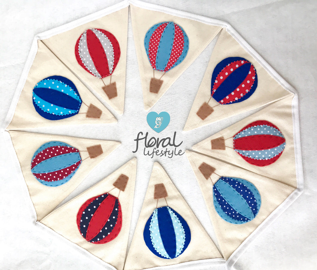 Red and Blue Hot Air Balloon Bunting