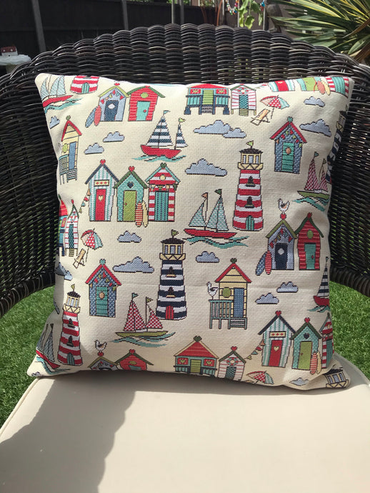 Seaside Tapestry Style Cushion