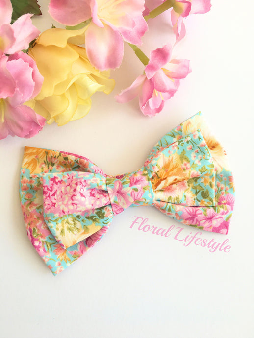 Large Hair Bow - Hello Hydrangea