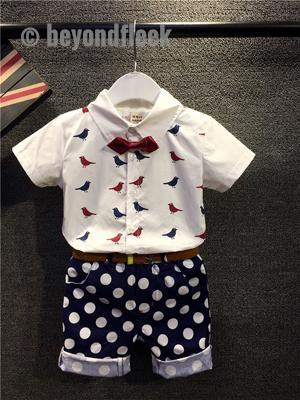 Baby Boy Bird Print Shirt + Dot Pant+ Bowknot+ Belt 4 PCS Suit