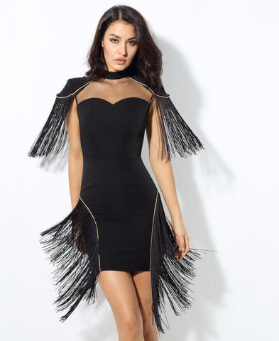 Love & Sexy Black Mesh Splicing Tassel Party Dress