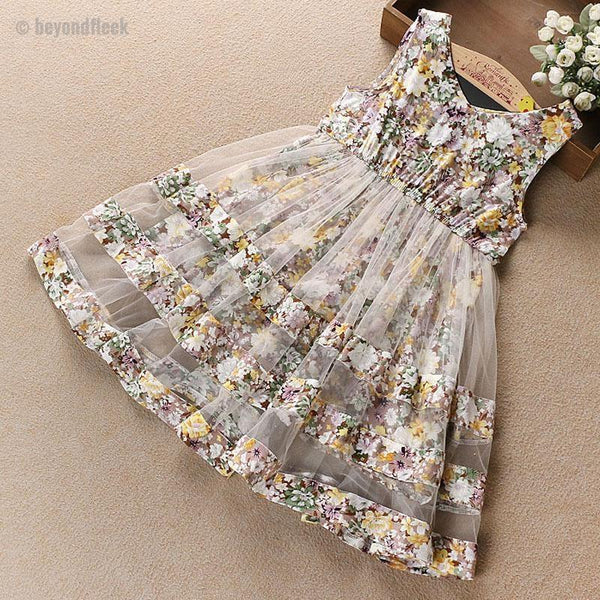 2018 Summer Girls  Floral Print Sundress 5-12 Years