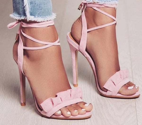 Ruffle Up Heel Sandals